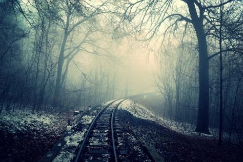 misty railway track