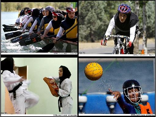 Iranian women playing different sports