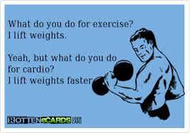 weights versus cardio cartoon