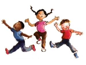 three kids dancing and looking super happy