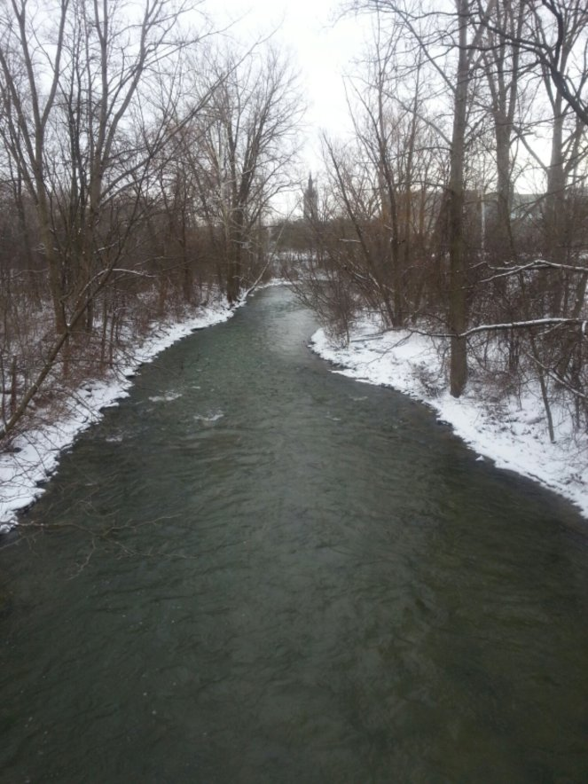 campus footbridge on gery snowy day