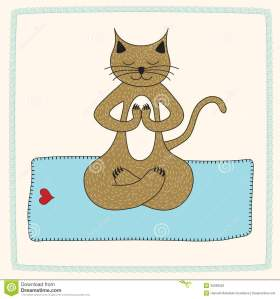 Cat in lotus position (cartoon).