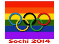 "Olympic rings against rainbow flag with caption ""Sochi 2014."""