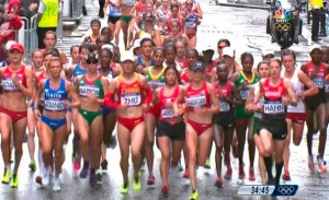 Women athletes running the marathon at the Olympics in London UK 2012.