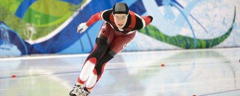 Clara Hughes speedskating for Canada.