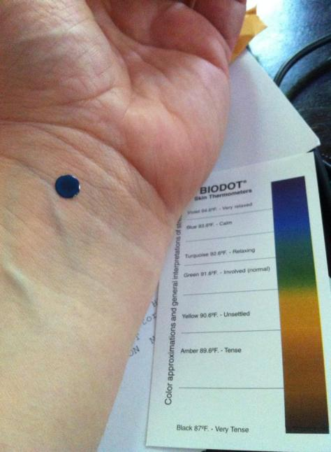 Image: blue bio dot on wrist
