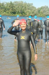 Tracy in her wetsuit and bathing cap, all ready for the swim portion of the Cambridge Triathlon.  Happy and relaxed!