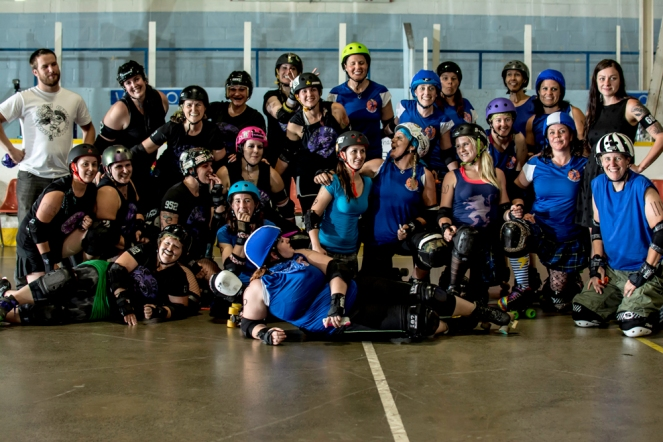 Last Flight of the Murder: Crow City Roller Girls vs. Grey Bruce Highland Dames, Alliston Memorial Arena.  Photo courtesy of Joe Mac, Mignight Matinee Photography.