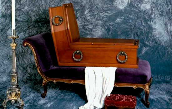 Sitting in death! A seated coffin, One of René Magritte's Seated Coffins, in the Vienna Funeral Museum.