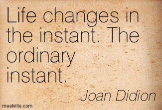 Life changes in an instant. Joan Didion.