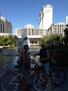 Renald and I in front of Caesar's Palace with our cheap cruisers on our pre-Burning Man vacation.  Fun times!