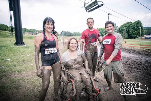 The team at the end of the race, muddy and smiling!