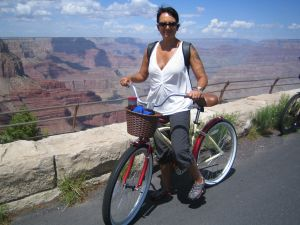 Riding on the south rim of the Grand Canyon, feeling like a kid again on my cheap cruising bike.
