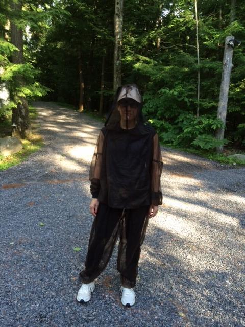 Lauren in her mosquito netting, ready to run!