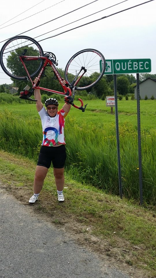 Sam makes it to the Quebec border from Toronto on her Friends for Life bike Rally this summer.  My cycling hero!