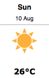 Bracebridge forecast for Sunday, August 10, from Environment Canada.