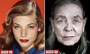 Bacall age 20 on the left, 88 on the right
