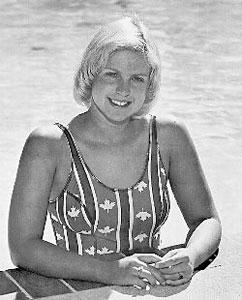 Cindy Nicholas, poolside.