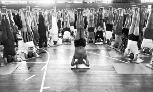 BKS Iyengar teaching a headstand class.