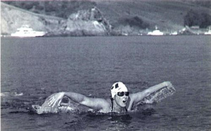 Vicki Keith crossing Lake Winnipeg with butterfly stroke.