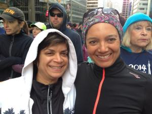 Anita (in her throwaway hoodie) and I (in my Buff and not throwaway top) at the starting line. As someone remarked when they saw this pic, we are the only two who are smiling. Yes, it was COLD.