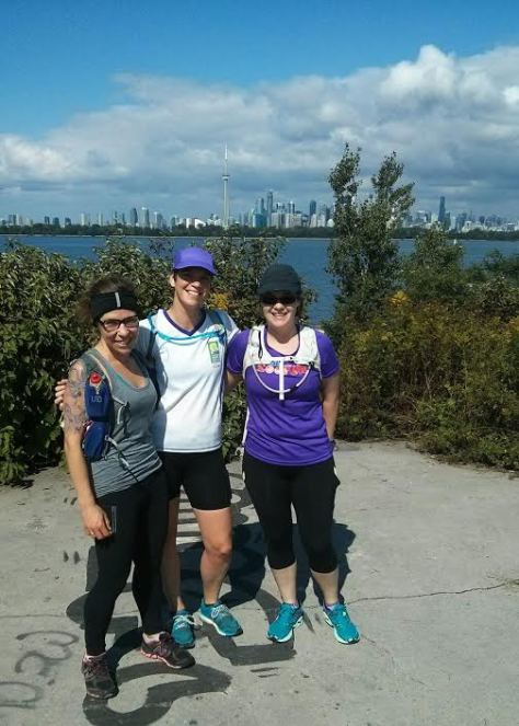 A long run with marathon training buddies.