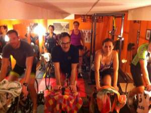 That's Sam and I at the back -- cycling in Coach Chris's basement.
