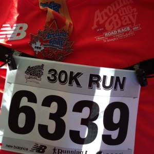 Around the bay medal, bib, t-shirt