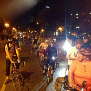 Lots of folks enjoying the evening ride! Photo by Paul Seale