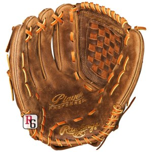 Right-handed leather softball glove for a left-handed thrower. Tan leather, well-worn. The fingers are joined with criss-crossing strips of leather and the area between the fingers and the thumb is closed with a two-tone woven leather piece.
