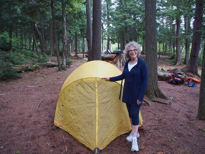 Mom by her tent