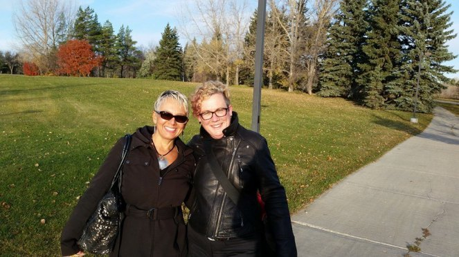 Sam and I on our morning walk from downtown to the University of Regina for CSWIP.