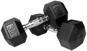 Two 30 pound dumbells with black weights and silver bars.