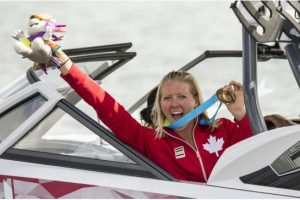 Whitney Mcclintock took home the gold for waterskiing.