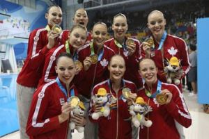The Canadian women's synchronized swimming team took home a gold medal.