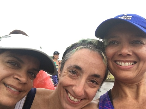 Happy where I am. That's me with the blue cap, Rebecca in the middle, Anita on the left. At the Niagara Falls Women's Half Marathon.