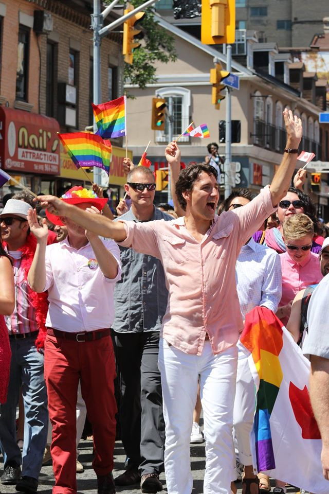 For no good reason, other than that he's so happy and I'm so proud, he's our Prime Minister marching at Toronto Pride. Susan and I wanted him to do the Pride Run. She even started a petition to persuade him but no luck.