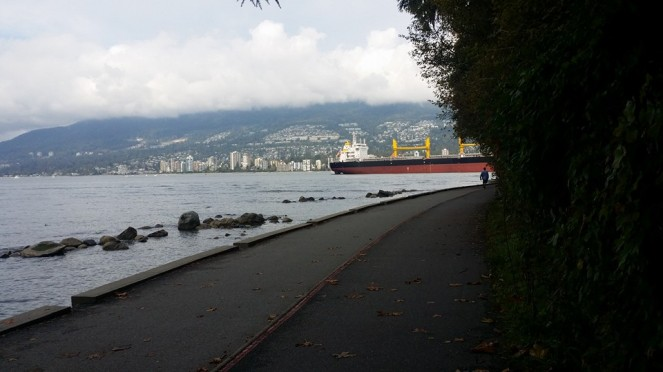 View of Vancouver harbour with ships
