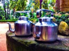 The hard-working steel tea kettles at the ashram: used twice a day, every day, for all of us!