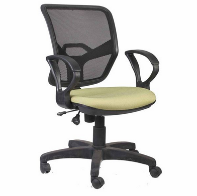 office chair with yellow-green fabric seat