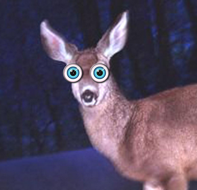 Deer in the headlights, green animated eyes