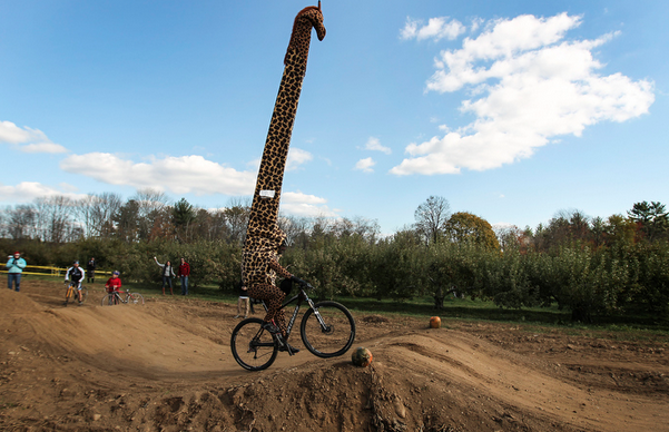 Cyclist riding a cyclocross course in a 14 foot tall giraffe costume.