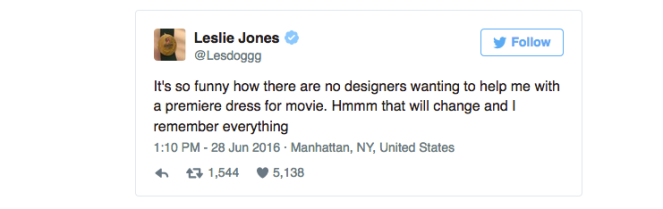 Leslie Jones' tweet about how no designers will help her with a dress for the Ghostbusters premiere.