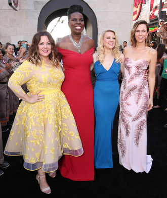 The stars of Ghostbusters at the film premiere, in a variety of beautiful dresses.