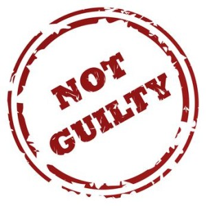 Not guilty stamp or seal, isolated on white background.