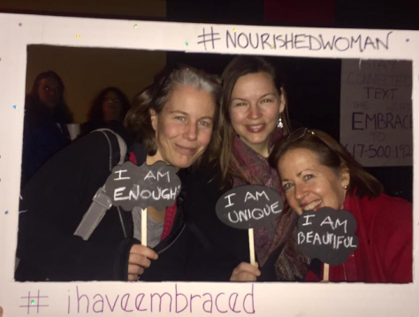 """a picture of three of my book clubd pals, holding signs saying """"I am enough"""", """"I am unique"""" and """"I am beautiful"""""""