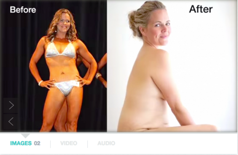A before and after shot of filmmaker Taryn Brumfitt; the before shows her as a bodybuilder in a bikini; the after shows her naked, after giving birth.