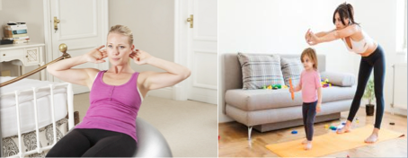 Two photos of women working out at home, one of them with her daughter.