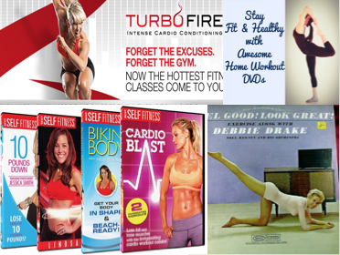 Collage of home exercise DVDs, records, plans
