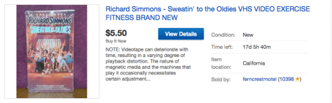 Ebay ad for Richard Simmons VHS tape of Sweatin' to the Oldies.